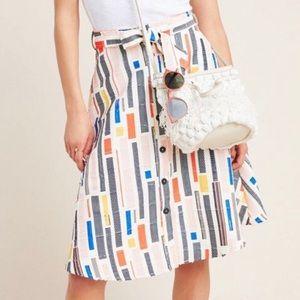 Leslie Button-Front Midi Skirt, Anthropologie, 0